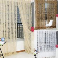 Retro Vintage Flocked Floral Voile Door Window Curtain Panel Sheer Tulle DraHFUS