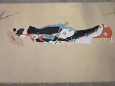 BEAUTIFUL antique/vintage Japanese Geisha Oil painting on silk+scroll(1930s)