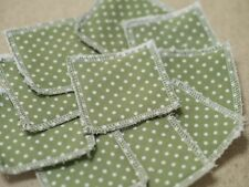 Reusable Make Up Remover Wipes Pads X 10 100% Cotton Green & White Polka Dot Eco