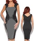 Women Black Grey Event Party Pencil Stretch Dress Size 8 10 12 14 16 18 20 NEW