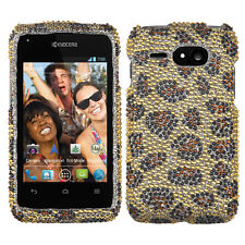 For Kyocera Event C5133 Crystal Diamond BLING Hard Case Phone Cover Leopard