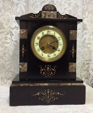 F Marti Victorian Slate Mantle Clock, Very Attractive & Heavy, Art Nouveau Style
