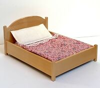 VINTAGE LUNDBY DOLLHOUSE MINIATURE FURNITURE WOODEN BED