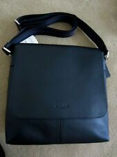 MENS COACH F28576 CHARLES SMALL BLACK LEATHER MESSENGER CROSSBODY BAG $375