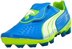 Puma V1.11 FG Pro Blue Yellow White Youth Kids Boys Girls Soccer Cleats Shoes
