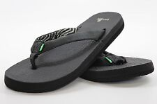 NEW sanuk 4.5 5 36 SANDAL FLIP FLOP SHOE YOGA MAT SOLE Black Primo Leather