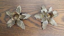 TWO VTG 1970's Solid Brass Poinsettia Christmas Taper Candle Holders INDIA