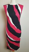 JULIEN MACDONALD Ladies Size UK 8 Red/Black/White Striped Dress A4