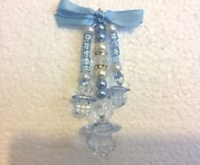 Personalise Twin baby pram charm hand made triple charm with teddy & 2 dummys