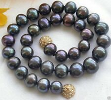 "Genuine Natural 9-10MM Black Akoya Freshwater Pearl Necklace 18""AAA"