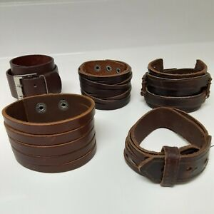 (lot 5) Punk Wide Brown Leather Belt Wristband Bangle Cuff Bracelet Adjustable