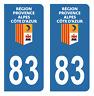 Autocollant Stickers plaque d'immatriculation véhicule auto département 83 Var