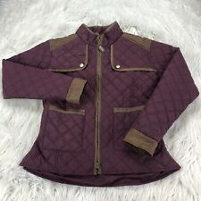 Equine Couture Women's M Burgundy Quilted Zip Front Jacket Equestrian