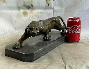 LARGE BRONZE STATUE SCULPTURE LION PANTHER TIGER PUMA COUGAR BIG CAT FIGURINE