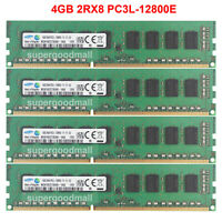 For Samsung 4GB 8GB 2RX8 PC3L-12800E DDR3L 1600MHz 1.35V ECC Unbuffered Memory