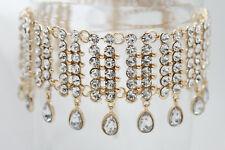 Women Gold Metal Silver Water Drops Short Fashion Choker Necklace Bling Earring