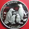 "1996 COOK ISLANDS $5 SILVER PROOF ""PENGUIN FAMILY"" PENGUINS ENDANGERED WILDLIFE"
