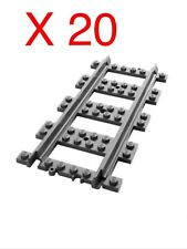 20 X LEGO CITY RC STRAIGHT TRACK, NEW SPLIT FROM VARIOUS SETS. EXTEND YOUR SET🚂