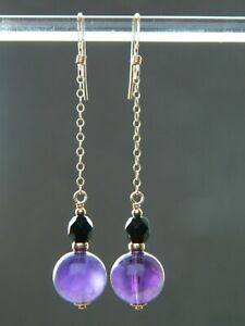 Natural Amethyst Gemstones, Vintage French Jet & Rolled Gold Long Drop Earrings