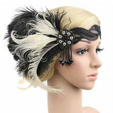 Retro 1920s Headband Feather 20's Bridal Great Gatsby Flapper Gangster Headpiece