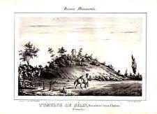 LITHOGRAPHIE GUIENNE MONUMENTALE 19è TUMULUS BELIN SURNOMME VIEUX CHATEAU GIROND