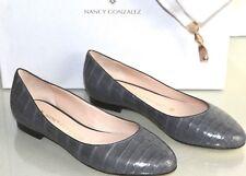 $1895 NEW Nancy Gonzalez CRISTINA Crocodile Alligator Flats Grey Shoes Bag 35.5