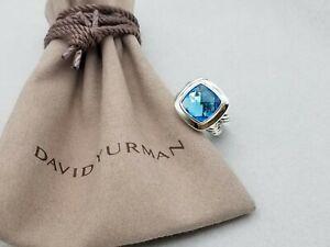 David Yurman Sterling Silver 11mm Albion Blue Topaz Ring, size 6