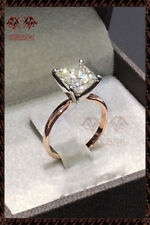 3Ct Princess-Cut Diamond Forever Unique Engagement Ring 14K Rose Gold Over