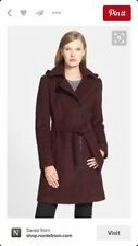 Vince Camuto Wool Blend Trench Coat Balsamic Red M Medium #156