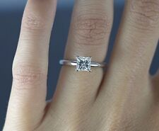 $8,500 The Leo Diamond 14K White Gold Platinum 0.98ct Princess Engagement Ring