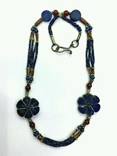 Afghan Natural Antique Lapis Lazuli Beads Necklace with Turquoise & Agate Ethnic