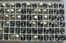 4 Swarovski 4470 10mm Crystal Silver Night Square Cushion Cut Foiled Rhinestones