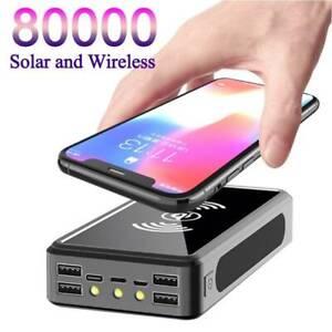 80000mAh Wireless Solar Power Bank External Battery Pack Phone Charger 4USB LED