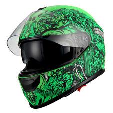 1Storm Motorcycle Full Face Helmet Dual Lens Sun Visor Monster Matt Skull Green