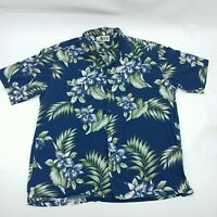 Aloha Republic Mens Blue Short Sleeve Button Up Floral Hawaiian T Shirt Size XL