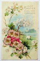 Old Easter greetings postcard antique divided back flocked flower bas relief