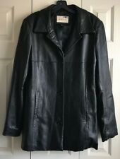 LADY HATHAWAY 100% LEATHER BLACK LEATHER COAT SIZE X/LARGE