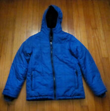 LANDS END Puffer Jacket Kids M / 10-12 Blue Black Fleece Lining - AS IS