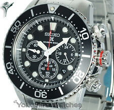 New SEIKO SOLAR 200mt PRO DIVERS CHRONO Stainless Steel Bracelet SSC015P1