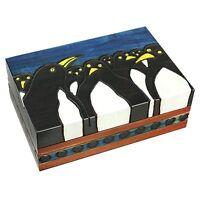 Penguins Wooden Box Polish Handmade Linden Wood Keepsake Kids Adult Jewelry Box