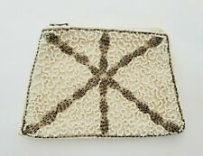 Vintage Cream and Silver SEED BEAD Change Purse with Hand Strap *EXQUISITE*