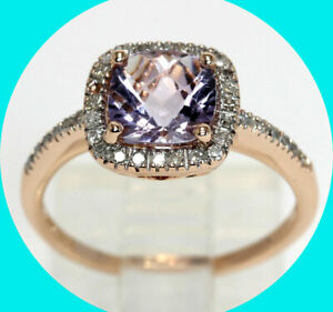 1.60CT diamond amethyst halo ring 14K rose gold fancy cushion cut birthstone