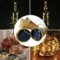 10/20 LED Solar Wine Bottle Cork Shaped String Lights Night Fairy Light Outdoor