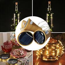 10/20 LED Solar Wine Bottle Cork Shaped String Lights Night Fairy Light Outdoor