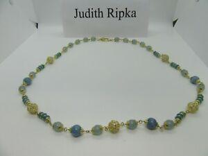"Judith Ripka Sterling Silver .925 Necklace Milky Aquamarine Stone 36"""