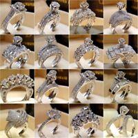 Elegant 925 Silver White Sapphire Birthstone Ring Women Wedding Jewelry Size5-11