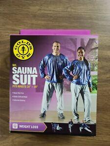 "NIB Gold's Gym M/L Sauna Suit fits waists 36""-44"" Heavy Duty Vinyl Reflective"