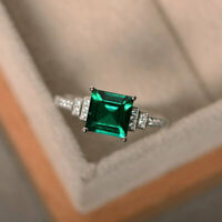 1.95 Ct Diamond Emerald Engagement Ring 14K Solid White Gold Rings Size N O P