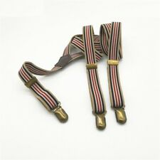 Suspender Straps Unisex Leather England Vintage Buttons Braces Clip Gasket Pants