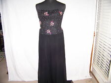 Ladies Nicole Miller black/ beaded strapless evening dress  Sz.6 EC GORGEOUS!